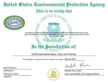 Lead certificate